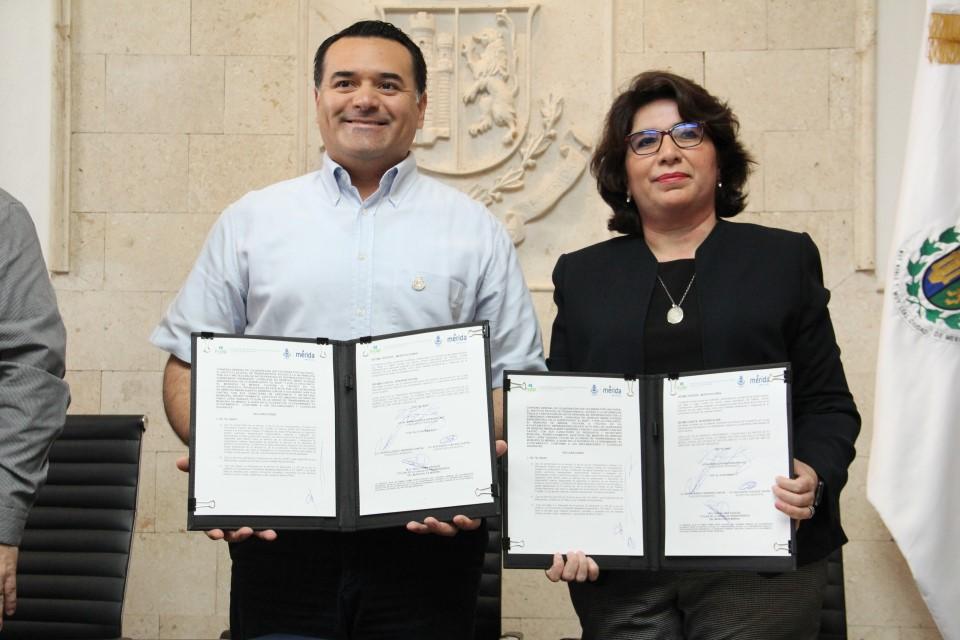 Firman convenio de colaboración Inaip Yucatán y Ayuntamiento de Mérida